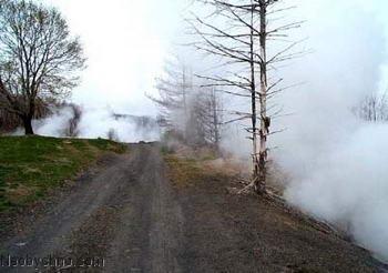 Дым от подземного пожара