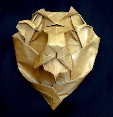 необычное оригами Голова Льва