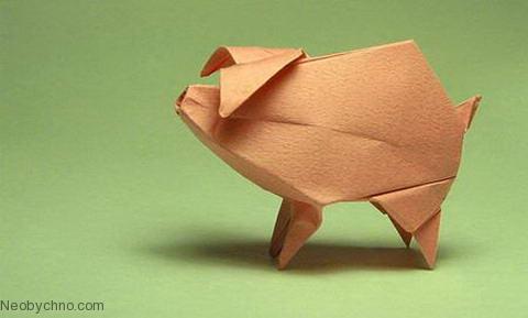 Объемное оригами: свинья