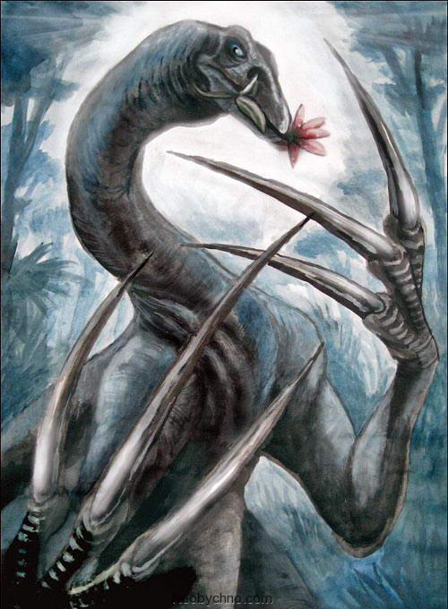 Теризинозавр ест траву