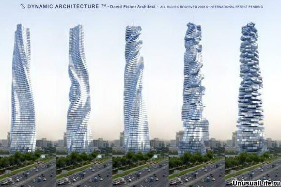 Вращаюшийся необычный небоскреб в ОАЭ