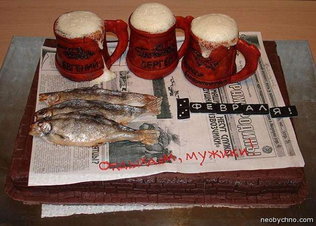 торт пиво с рыбкой