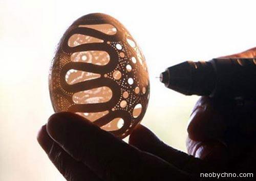 резьба на яичной скорлупе
