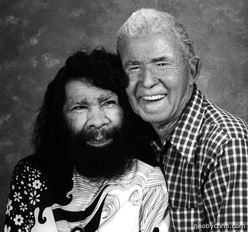 Женщина-обезьяна Перцилла и ее муж, человек-крокодил