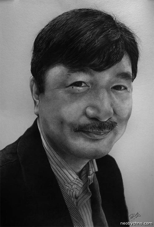 Карандашный портрет китайца
