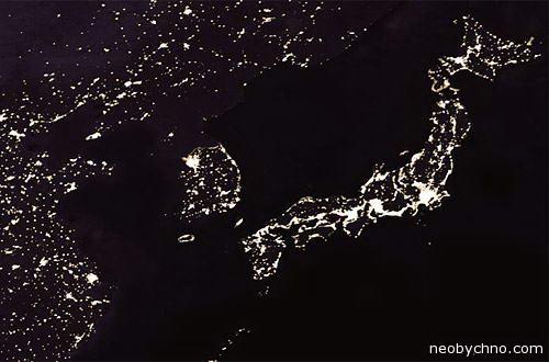 Корея ночью вид из космоса