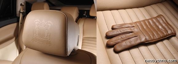 Перчатки и логотип Trussardi в салоне BMW5