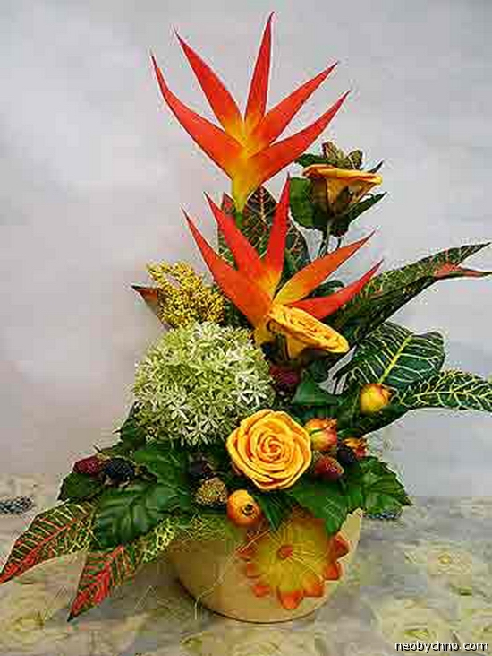 Экибаны из живых цветов