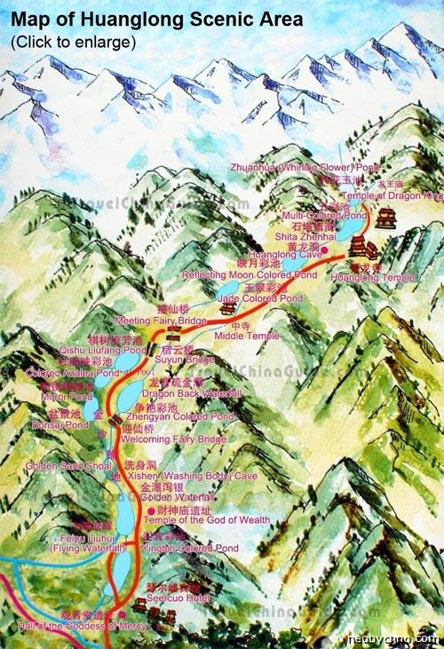 Карта местности Хуанлун, Китай