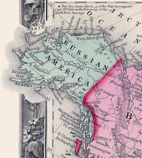 Русская Америка на карте Мира