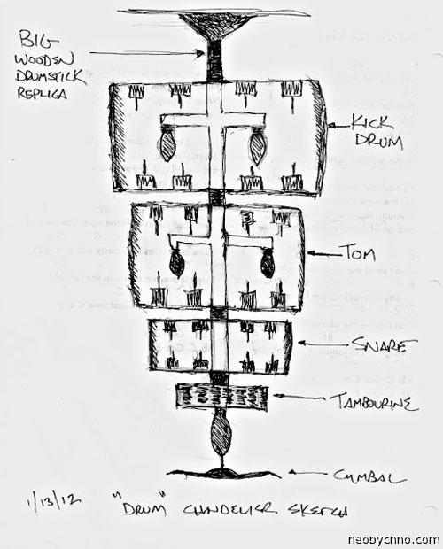 Модель канделябра из барабанной установки