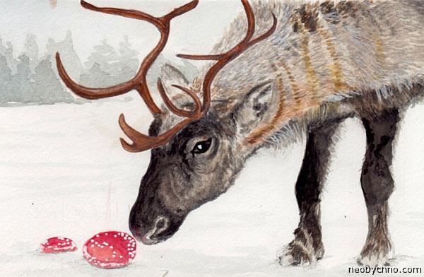 Знакомство оленя с мухомором