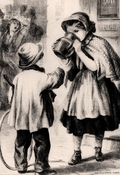 Дети пьют джин в Англии